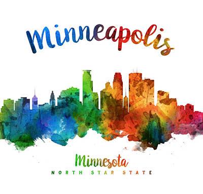 Minneapolis Skyline Painting - Minneapolis Minnesota Skyline 25 by Aged Pixel