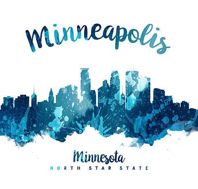 Minneapolis Skyline Painting - Minneapolis Minnesota Skyline 27 by Aged Pixel