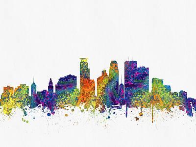 Minneapolis Minnesota Skyline Color03 Art Print by Aged Pixel
