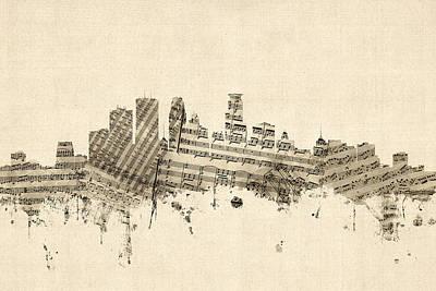 Digital Art - Minneapolis Minnesota Skyline Sheet Music Cityscape by Michael Tompsett