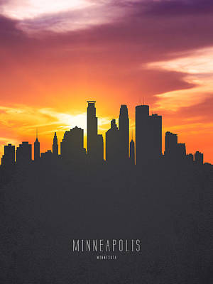Minneapolis Skyline Painting - Minneapolis Minnesota Sunset Skyline 01 by Aged Pixel