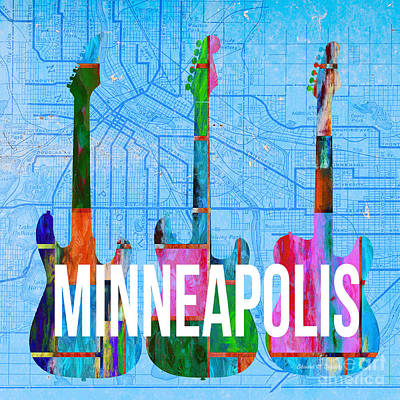 Guitar Painting - Minneapolis Music Scene by Edward Fielding