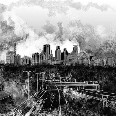 Minnesota Painting - Minneapolis Skyline Abstract 2 by Bekim Art