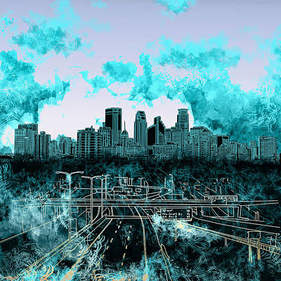 Abstract Skyline Paintings - Minneapolis Skyline Abstract 3 by Bekim M