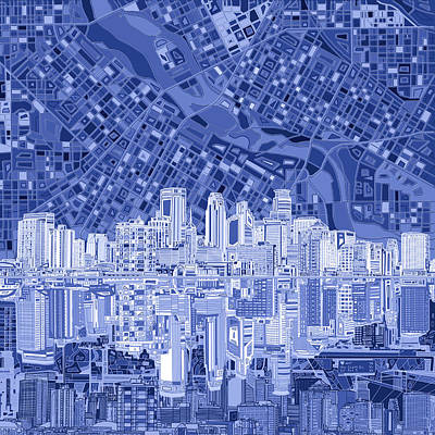 Abstract Skyline Royalty-Free and Rights-Managed Images - Minneapolis Skyline Abstract 6 by Bekim M