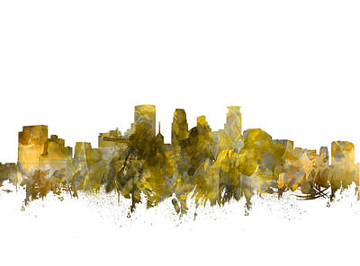 Abstract Skyline Royalty-Free and Rights-Managed Images - Minneapolis Skyline Abstract Sepia by Bekim M