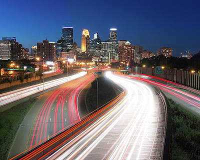 Minneapolis Skyline And Traffic Flow Art Print by Jim Hughes