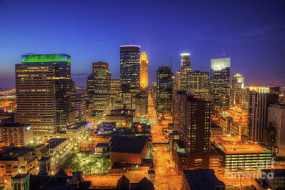 Marquette Photograph - Minneapolis Skyline Art Marquette Avenue by Wayne Moran