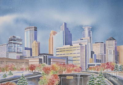 Minnesota Landscape Wall Art - Painting - Minneapolis Skyline by Deborah Ronglien