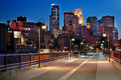Minnesota Photograph - Minneapolis Skyline From Stone Arch Bridge by Jon Holiday