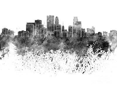 Minneapolis Skyline Painting - Minneapolis Skyline In Black Watercolor On White Background by Pablo Romero