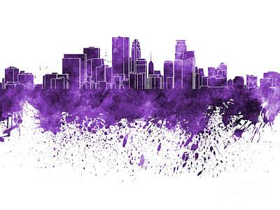 Minneapolis Skyline Painting - Minneapolis Skyline In Purple Watercolor On White Background by Pablo Romero