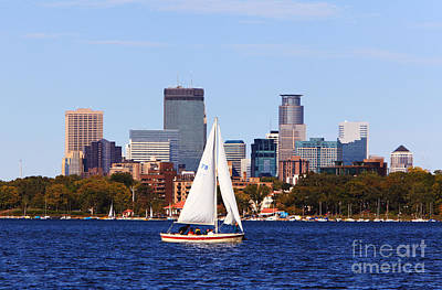Minneapolis Skyline Lake Calhoun Sailing Art Print