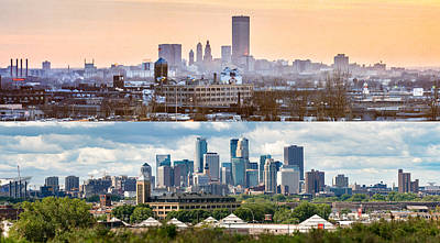 Minneapolis Skylines - Old And New Art Print