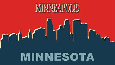 Mixed Media - Minneapolis Skyline Pop Art by Dan Sproul