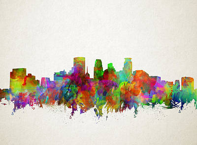 Abstract Skyline Royalty-Free and Rights-Managed Images - Minneapolis Skyline Watercolor 2 by Bekim M