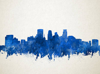Painting - Minneapolis Skyline Watercolor Blue by Bekim Art