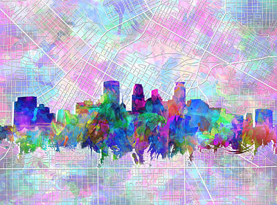 Minnesota Painting - Minneapolis Skyline Watercolor by Bekim Art