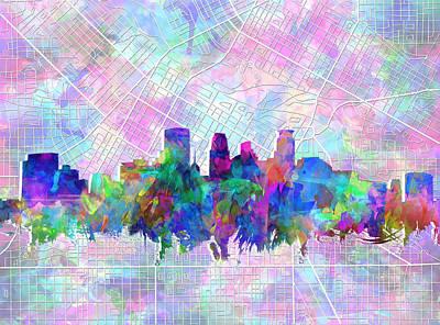 Abstract Skyline Paintings - Minneapolis Skyline Watercolor by Bekim M