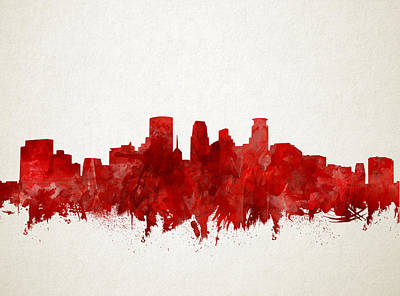 Abstract Skyline Royalty-Free and Rights-Managed Images - Minneapolis Skyline Watercolor Red by Bekim M