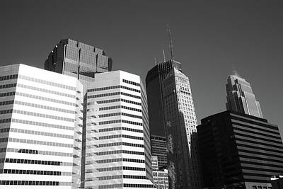 Print featuring the photograph Minneapolis Skyscrapers Bw 5 by Frank Romeo