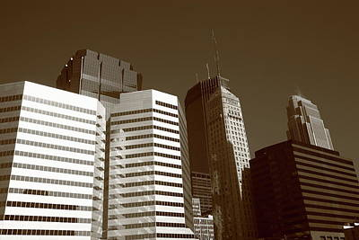 Print featuring the photograph Minneapolis Skyscrapers 5 Sepia by Frank Romeo