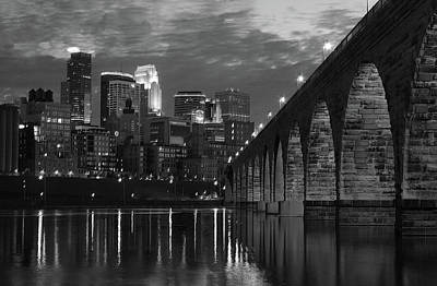 Minnesota Photograph - Minneapolis Stone Arch Bridge Bw by Wayne Moran