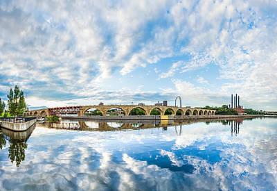 Minneapolis Skyline Photograph - Minneapolis Stone Arch Bridge Panorama by Christopher Broste