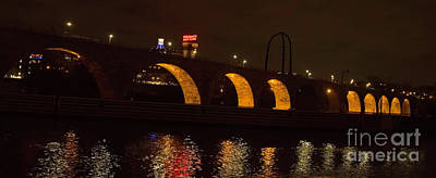 Photograph - Minneapolis Stone Bridge At Night by Natural Focal Point Photography