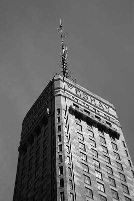 Print featuring the photograph Minneapolis Tower 6 Bw by Frank Romeo