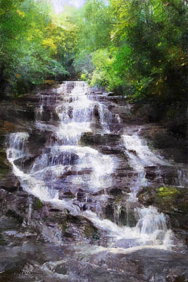 Park Scene Digital Art - Minnehaha Falls Summer by Francesa Miller