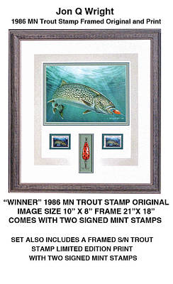 Minnesota 1986 Trout Stamp Original Original