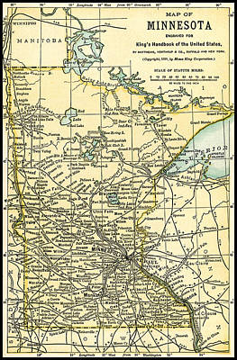 Photograph - Minnesota Antique Map 1891 by Phil Cardamone