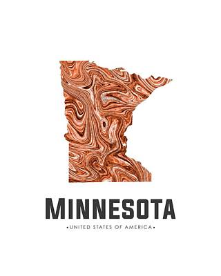 Mixed Media - Minnesota Map Art Abstract In Brown by Studio Grafiikka