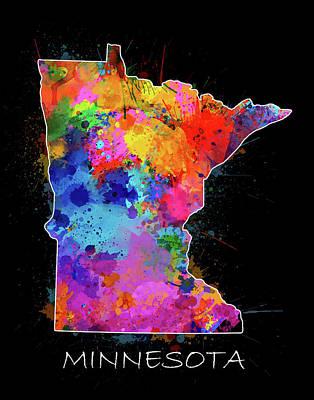Splatter Digital Art - Minnesota Map Color Splatter 2 by Bekim Art