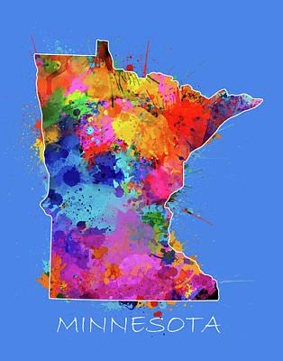Splatter Digital Art - Minnesota Map Color Splatter 3 by Bekim Art