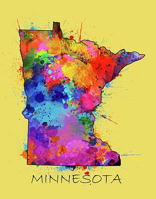Splatter Digital Art - Minnesota Map Color Splatter 4 by Bekim Art
