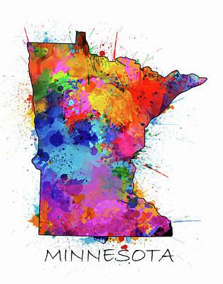 Splatter Digital Art - Minnesota Map Color Splatter by Bekim Art