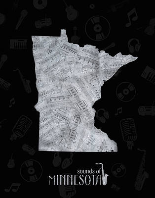 Jazz Royalty-Free and Rights-Managed Images - Minnesota Map Music Notes 2 by Bekim Art