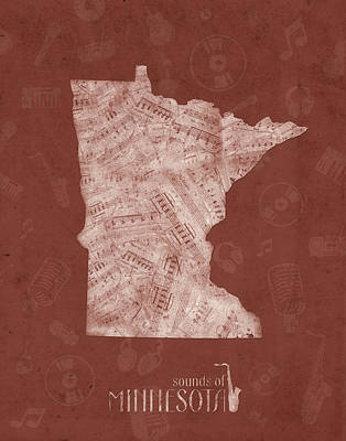 Jazz Royalty-Free and Rights-Managed Images - Minnesota Map Music Notes 4 by Bekim Art