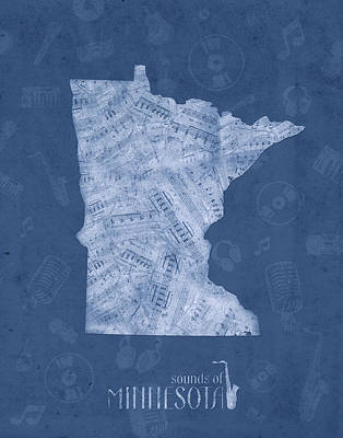 Jazz Royalty-Free and Rights-Managed Images - Minnesota Map Music Notes 5 by Bekim M