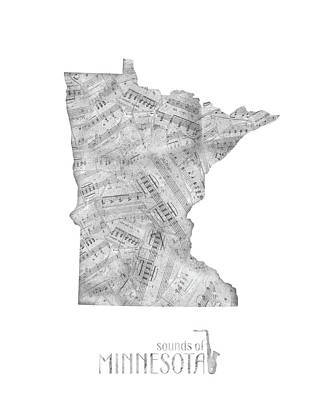 Jazz Royalty-Free and Rights-Managed Images - Minnesota Map Music Notes by Bekim Art