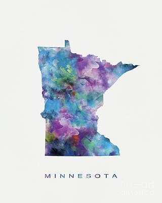 Montana State Map Mixed Media - Minnesota by Monn Print