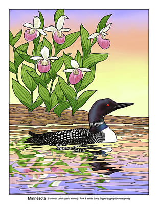 Minnesota State Bird Loon And Flower Ladyslipper Art Print by Crista Forest