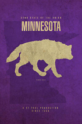 Minnesota Timberwolves Mixed Media - Minnesota State Facts Minimalist Movie Poster Art by Design Turnpike