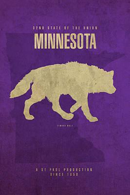 Minnesota Mixed Media - Minnesota State Facts Minimalist Movie Poster Art by Design Turnpike