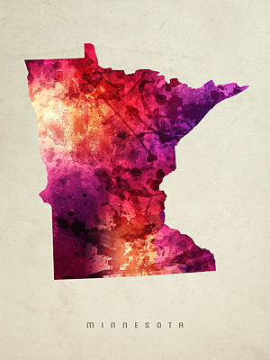 Watercolor Map Digital Art - Minnesota State Map 05 by Aged Pixel