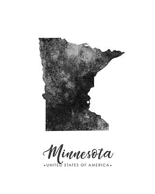 Geography Mixed Media - Minnesota State Map Art - Grunge Silhouette by Studio Grafiikka