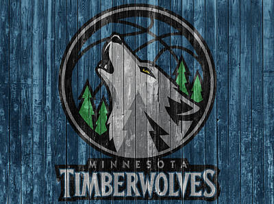 Mixed Media - Minnesota Timberwolves Barn Door by Dan Sproul