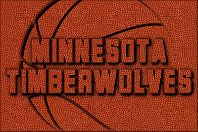 Minnesota Timberwolves Leather Art Art Print by Joe Hamilton